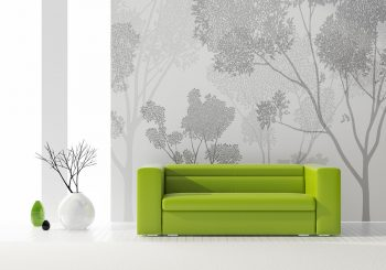 Living Room with Green Couch