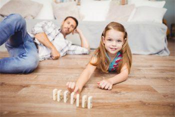 Family on Hardwood Floor